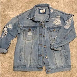 Women's oversized denim distressed jacket